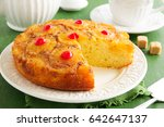 upside down pineapple cake with ...   Shutterstock . vector #642647137