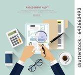 flat design. assessment audit... | Shutterstock .eps vector #642663493