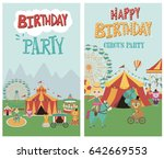 set of birthday card with... | Shutterstock .eps vector #642669553
