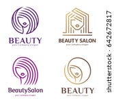 Vector logo set for beauty salon, hair salon, cosmetic | Shutterstock vector #642672817