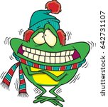 cartoon frog that is shivering