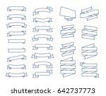 set of vector line ribbons and... | Shutterstock .eps vector #642737773