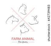farm animals  thin line style ...