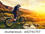 the rider in full protective... | Shutterstock . vector #642741757
