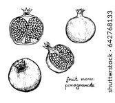 fruit menu   pomegranate   hand ... | Shutterstock .eps vector #642768133
