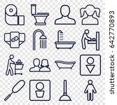 toilet icons set. set of 16... | Shutterstock .eps vector #642770893