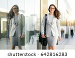 businesswoman in stylish suit... | Shutterstock . vector #642816283