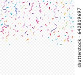 colorful confetti and ribbon... | Shutterstock .eps vector #642819697