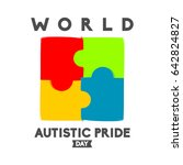 world autistic pride day logo... | Shutterstock .eps vector #642824827