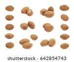 few chocolate coated almond... | Shutterstock . vector #642854743