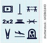 set of 9 border filled icons... | Shutterstock .eps vector #642861643