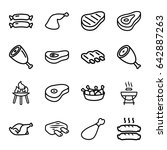 barbecue icons set. set of 16...