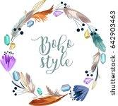 boho style wreath. watercolor... | Shutterstock .eps vector #642903463