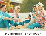 a group of friends having great ... | Shutterstock . vector #642949987