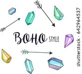 boho style. watercolor crystals ... | Shutterstock .eps vector #642964537
