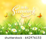 sunny yellow background with... | Shutterstock .eps vector #642976153