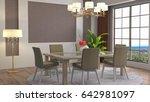interior dining area. 3d... | Shutterstock . vector #642981097