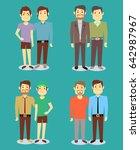 happy gay lgbt men pairs in... | Shutterstock . vector #642987967