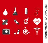 medical icons on red background | Shutterstock .eps vector #642997303