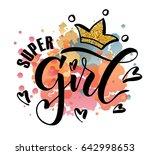 vector poster of super girl...   Shutterstock .eps vector #642998653