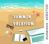 summer vacation. freelance... | Shutterstock .eps vector #643017133