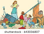terrible mother and the kids... | Shutterstock .eps vector #643036807
