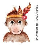 Stock photo watercolor monkey portrait cute boho design with feathers nursery prints with animals posters 643048483