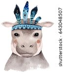Stock photo watercolor hippo portrait cute boho design with feathers nursery prints with animals posters 643048507