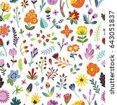 seamless floral vintage pattern.... | Shutterstock .eps vector #643051837