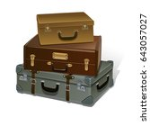 retro suitcases vector... | Shutterstock .eps vector #643057027