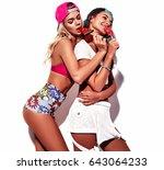 fashion beautiful young... | Shutterstock . vector #643064233