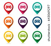 map pointer with car icon | Shutterstock .eps vector #643069297