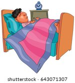 boy or man sleeping on his bed... | Shutterstock .eps vector #643071307