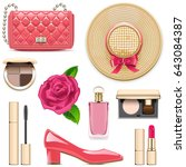 vector fashion accessories set 4 | Shutterstock .eps vector #643084387