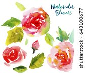 colorful watercolor set of... | Shutterstock . vector #643100677