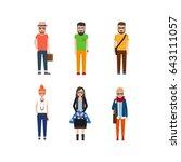 hipster girls and boys cartoon... | Shutterstock . vector #643111057