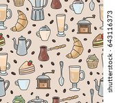 coffee vector seamless pattern. ... | Shutterstock .eps vector #643116373