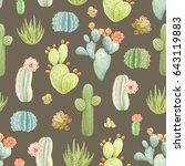seamless pattern with cactus... | Shutterstock .eps vector #643119883