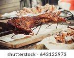 whole grilled lamb with meat... | Shutterstock . vector #643122973