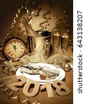 new year holiday table setting... | Shutterstock . vector #643138207
