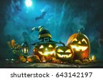 halloween pumpkin head jack... | Shutterstock . vector #643142197