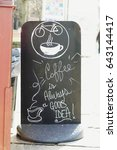 Small photo of Message Coffee is always a good idea on blackboard of restaurant outside