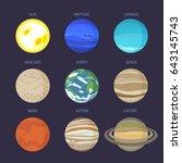 set solar system elements ... | Shutterstock .eps vector #643145743