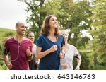 mature woman running with group ... | Shutterstock . vector #643146763