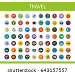 travel flat icons set. tourism... | Shutterstock .eps vector #643157557