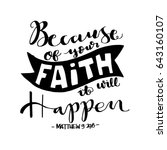 because of your faith. bible... | Shutterstock .eps vector #643160107