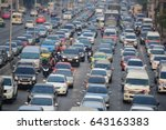 abstract blur of traffic jam on ... | Shutterstock . vector #643163383