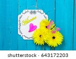 welcome sign with colorful... | Shutterstock . vector #643172203