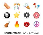12 emoticon on white background.... | Shutterstock .eps vector #643174063