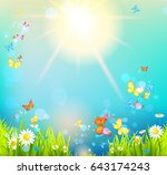 summer vector landscape with... | Shutterstock .eps vector #643174243